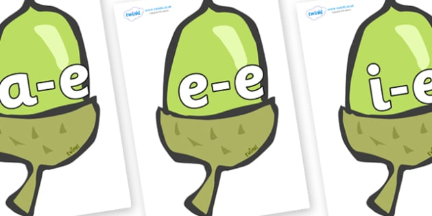 Modifying E Letters on Acorns - Modifying E, letters, modify, Phase 5, Phase five, alternative spellings for phonemes, DfES letters and Sounds