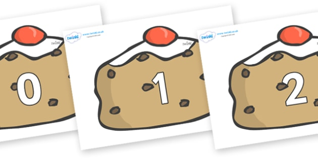 Numbers 0-31 on Currant Buns - 0-31, foundation stage numeracy, Number recognition, Number flashcards, counting, number frieze, Display numbers, number posters