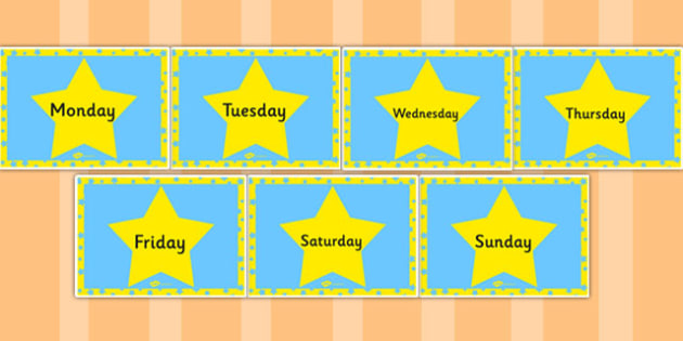 Blue and Yellow Stars Days of the Week - days, week, stars, blue
