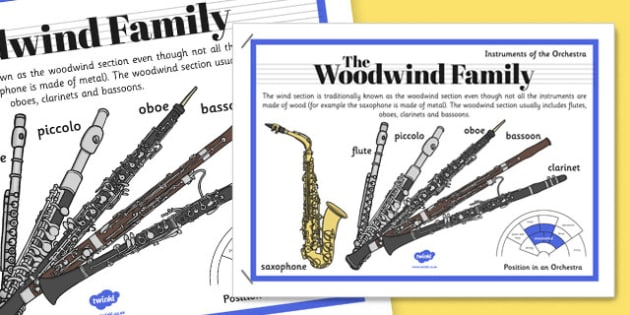 Orchestra Instruments Woodwind Family Poster - orchestra, instruments, woodwind, family, poster