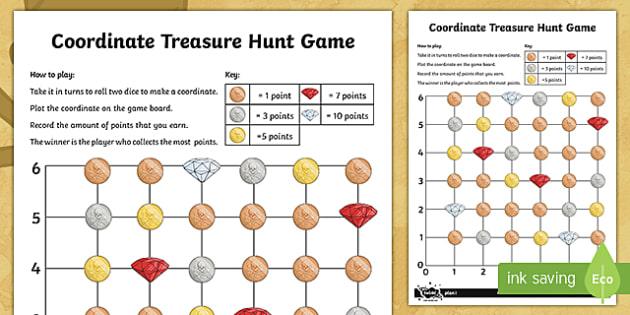 Treasure Hunt Coordinates Game - Position, direction, coordinates, first quadrant