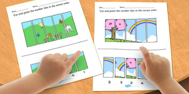 Spring Number Sequencing Puzzle - spring, number puzzle, sequence