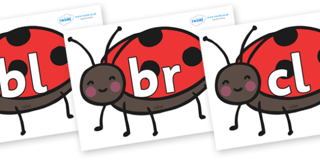 Initial Letter Blends on Ladybirds - Initial Letters, initial letter, letter blend, letter blends, consonant, consonants, digraph, trigraph, literacy, alphabet, letters, foundation stage literacy