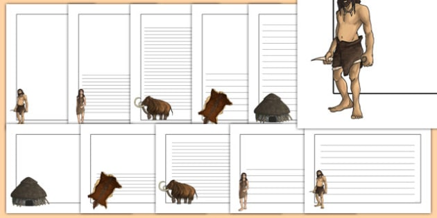 The Stone Age Page Borders - stone age, writing, history, write