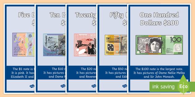 Australian Notes Display Posters - Australian currency, money, notes, coins, Australian curriculum, maths, ACMNA034,Australia