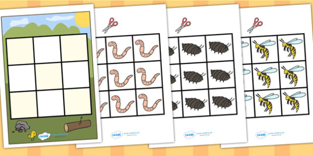 3 in a row Minibeasts Activity - minibeasts, minibeast games