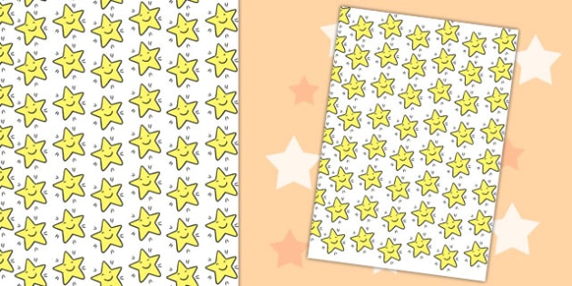 Smiley Star Themed A4 Sheet - a4, sheet, smiley, star, paper