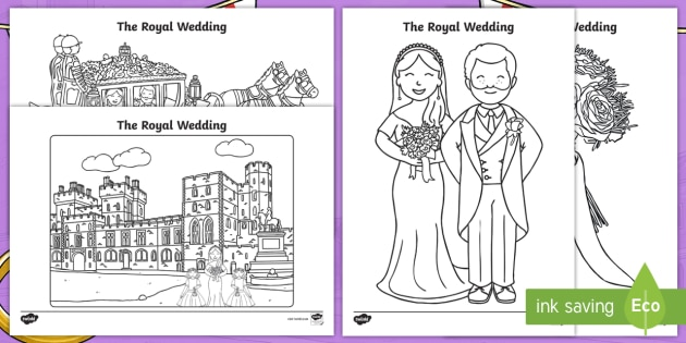 The Royal Wedding Colouring Pages - prince harry and meghan markle, marriage, wed, royal celebrations,