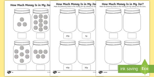 how much money is in my jar counting in 5s differentiated activity sheets. Black Bedroom Furniture Sets. Home Design Ideas