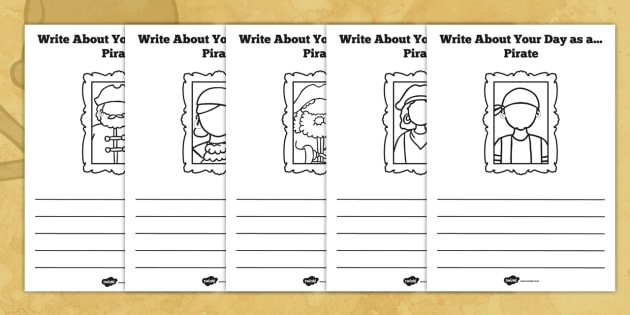 Write About Your Day as a Pirate Activity Sheet - pirate, sheet, worksheet