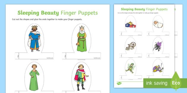 Sleeping Beauty Finger Puppets - finger, puppets, sleeping beauty
