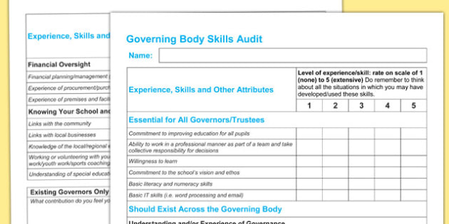 Governing Body Skills Audit - governing body, skills, audit
