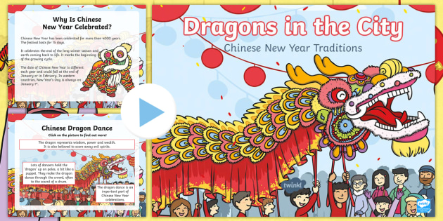 dragons in the city chinese new year traditions powerpoint, Powerpoint templates