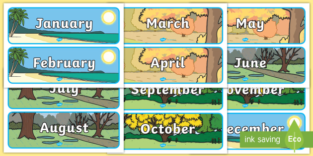 Australian Months of the Year With Seasons Display Posters