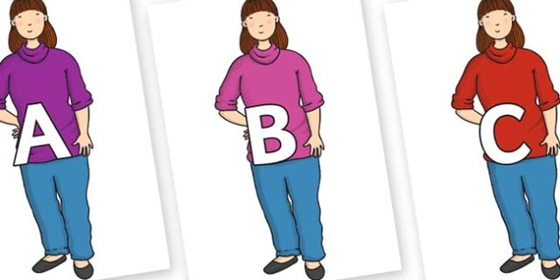 A-Z Alphabet on Harry's Mum to Support Teaching on Harry and the Bucketful of Dinosaurs - A-Z, A4, display, Alphabet frieze, Display letters, Letter posters, A-Z letters, Alphabet flashcards