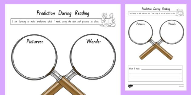 Prediction During Reading Activity Sheet, worksheet