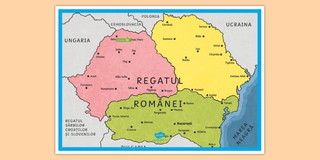 Harta României La 1918 Planșă Cu Diferite Dimensiuni