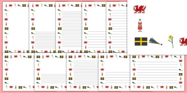 St David's Day Page Borders - Page border, a4 border, template, writing aid, writing border, page template, Dewi sant, St David, daffodil, Wales, cymru, leek, parade, patron saint