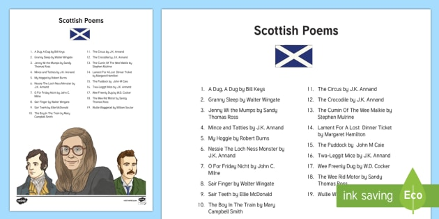 Scottish Poetry for Kids Adult Guidance - CfE Literacy, poems, ideas