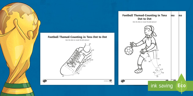 * NEW * KS1 Football Themed Counting In 10s Dot To Dot