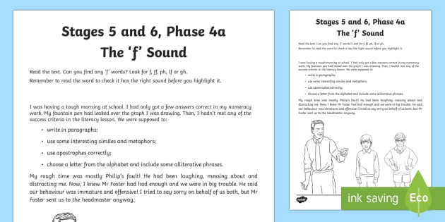 Northern Ireland Linguistic Phonics Stage 5 and 6, Phase 4a, The 'f' Sound Text Activity Sheet  - NI, Irish, Sound Search, Investigation, Phoneme, Grapheme, Letter