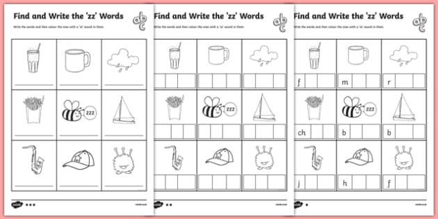 Find and Write the zz Words Differentiated Worksheet ...