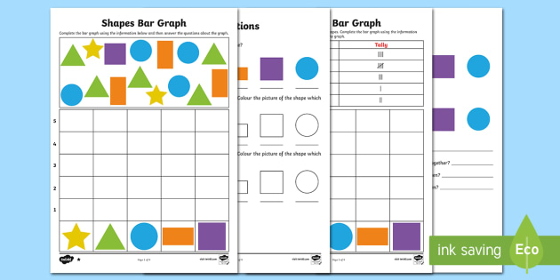 Bar Graphs with Shapes Differentiated Worksheet / Activity Sheets - bar graphs, collecting data, collating data, mathematics, ACMSP263, ACMSP049, ACMSP050, ACMSP069, AC