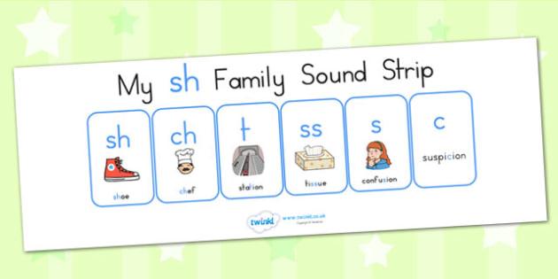 My Sh Family Sound Strip - sound family, visual aid, literacy