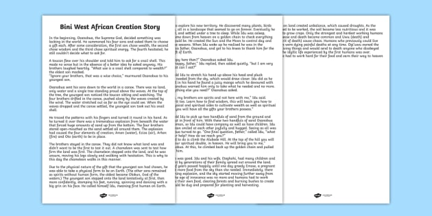 Kingdom of Benin: Bini Creation Story Print Out