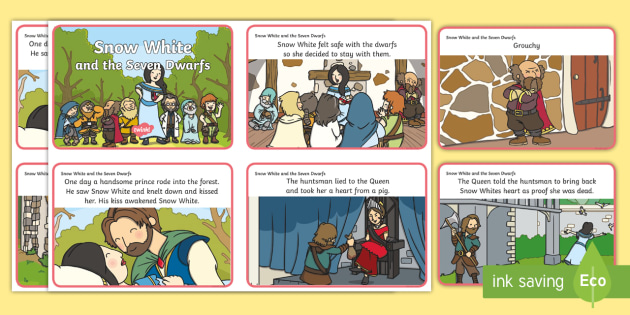 Snow White and the Seven Dwarfs Story Sequencing (4 per A4) - Snow