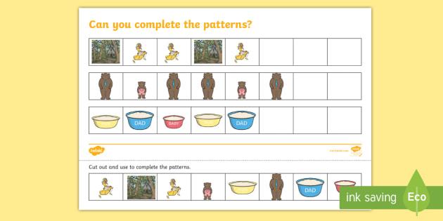 Goldilocks and the Three Bears Complete the Pattern Activity Sheet - Goldilocks Complete the Pattern Worksheets - pattern, patterms, goldilocks,three bears, Worksheet, w