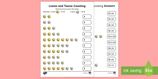 Loonie and Toonie Counting Activity Sheet - Uniquely Canadian, math, number sense, money, currency, loonie, toonie, counting, Canada.