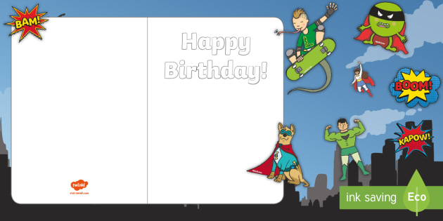Design Your Own Superhero Themed Birthday Cards - cut and stick, fine motor skills, scissor skills