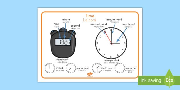 Time Vocabulary Word Mat US English/Spanish (Latin) - Time Vocabulary Word Mat - time vocabulary, word mat, writing aid, mat, vocabulary, time, day, secon