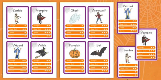 Halloween Character Top Trump Cards - matching, comparing, game, activity, filler, american us