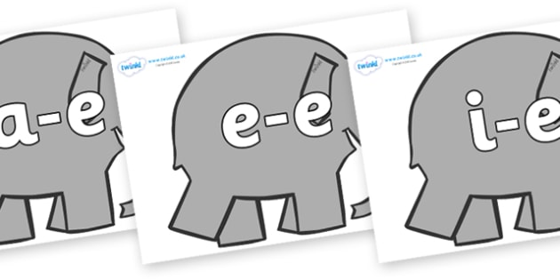 Modifying E Letters on Grey Elephant to Support Teaching on Elmer - Modifying E, letters, modify, Phase 5, Phase five, alternative spellings for phonemes, DfES letters and Sounds