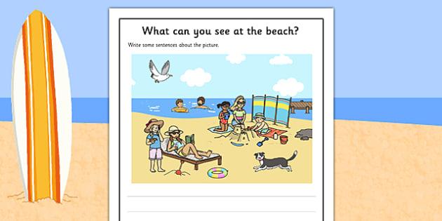 Beach Scene Writing Stimulus Picture Activity Sheet, worksheet