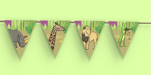Dancing Giraffe Themed Bunting - Giraffes Can't Dance, bunting, display, jungle, animals
