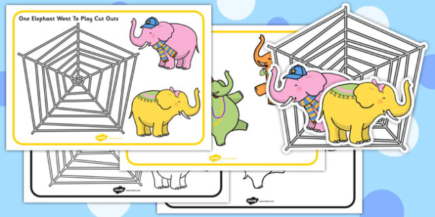 One Elephant Went Out To Play Cut Outs - one elephant went out to play, nursery rhyme, song, elephant, sequencing, cut out, cut outs, cutting, story resources, story book
