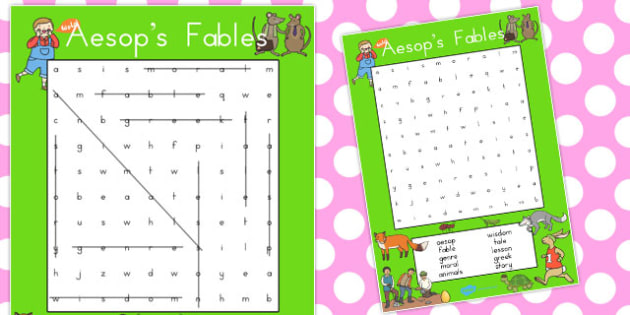 Aesops Fables Wordsearch - wordsearches, activity, activities