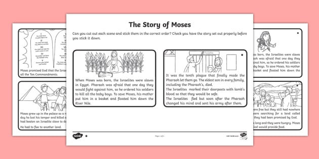 The Story of Moses Differentiated Sequencing Worksheet - RE ...