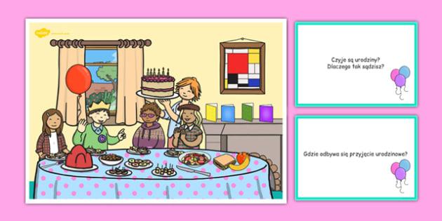Karty z pytaniami Przyjęcie urodzinowe po polsku - urodziny