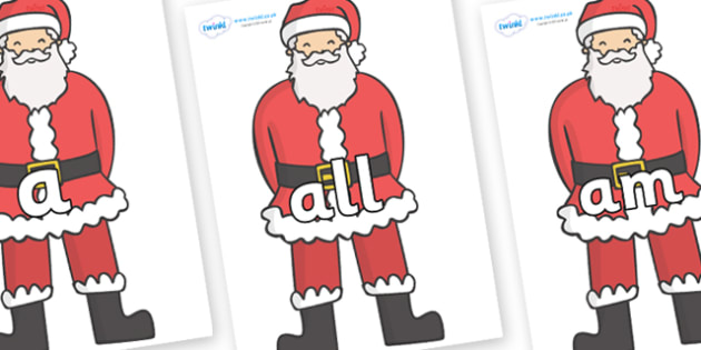 Foundation Stage 2 Keywords on Father Christmas - FS2, CLL, keywords, Communication language and literacy,  Display, Key words, high frequency words, foundation stage literacy, DfES Letters and Sounds, Letters and Sounds, spelling