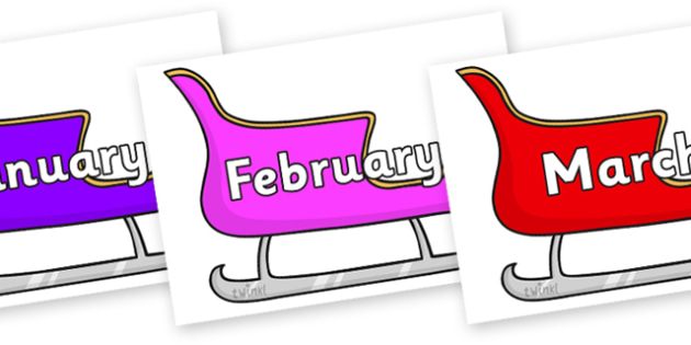 Months of the Year on Sleighs (Multicolour) - Months of the Year, Months poster, Months display, display, poster, frieze, Months, month, January, February, March, April, May, June, July, August, September