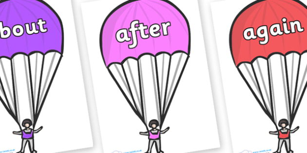 KS1 Keywords on Parachutes - KS1, CLL, Communication language and literacy, Display, Key words, high frequency words, foundation stage literacy, DfES Letters and Sounds, Letters and Sounds, spelling