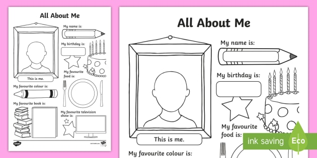 picture relating to All About Me Printable Worksheets identify All Regarding Me Worksheet