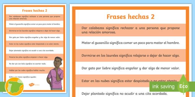 Poster A4 Frases Hechas 2 Vocabulario Lenguaje