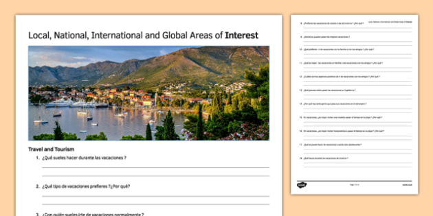 General Conversation Travel & Tourism Question  List Spanish