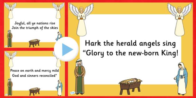 Hark the Herald Angels Sing Christmas Carol Lyrics PowerPoint - hark the herald angels sing, christmas, christmas carol, lyrics powerpoint, christmas songs