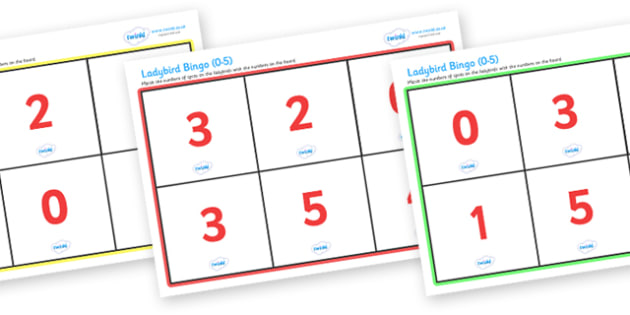 Ladybird Bingo (0-5) - Ladybird, bingo, number game, 0-5, Number words, Numerals, Foundation Numeracy, Number recognition, Number flashcards, minibeasts